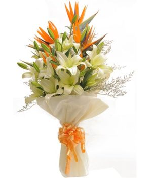4 White Lillies Exotic Bouquet