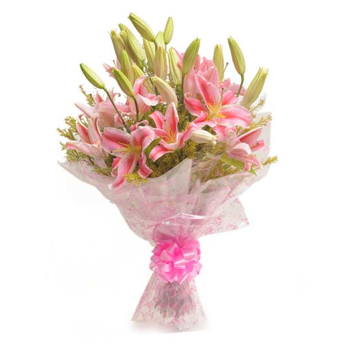 6 Pink Lillies Exotic Pink