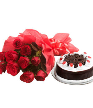 10 Red Roses and Black Forest Cake