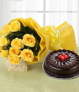 10 Yellow Roses and Chocolate Truffle Cake