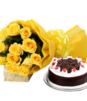 12 Yellow Roses Bouquet and Black forest Cake