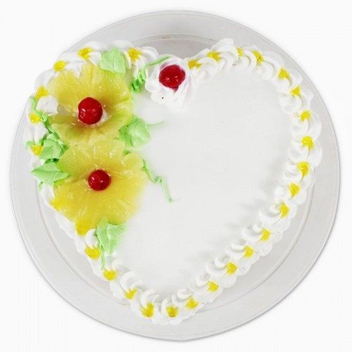 Pineapple Heart Shape Cake