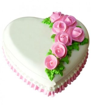 Heart Shape Vanilla Rose Cake