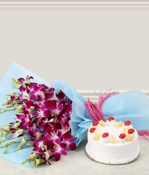 6 Purple Orchids and Pineapple Cake