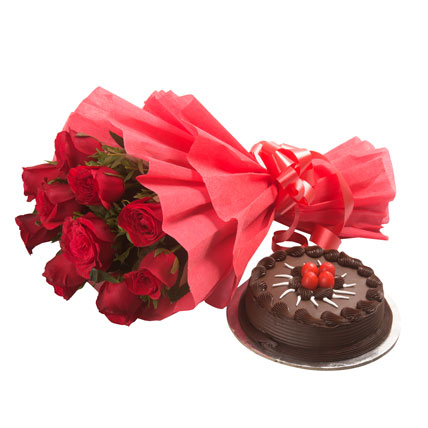 10 Red Roses and Chocolate Truffle Cake
