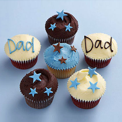 Twinkling Stars 6 Cupcakes For Dad