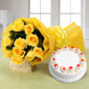 10 Yellow Roses and Pineapple Cake
