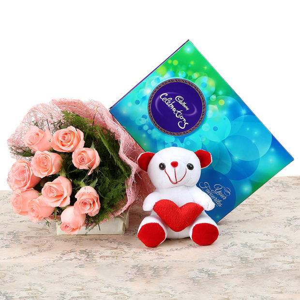 10 Pink Rose, Cadbury Chocolate, Teddy Bear