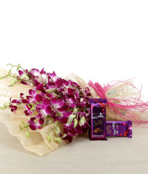 12 Purple Orchids, Cadbury Chocolate