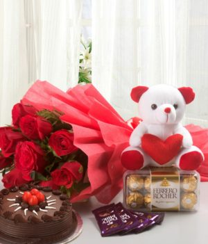 12 Red Roses, Ferrero Rocher Chocolate
