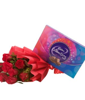 Bouquet of 10 Red Roses With Cadbury Celebrations