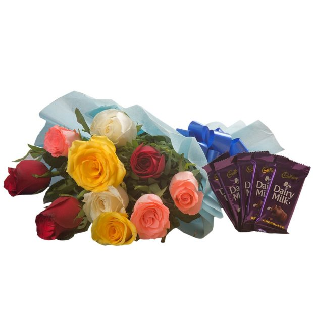 10 Mix Colour Roses, 5 Cadbury Chocolates