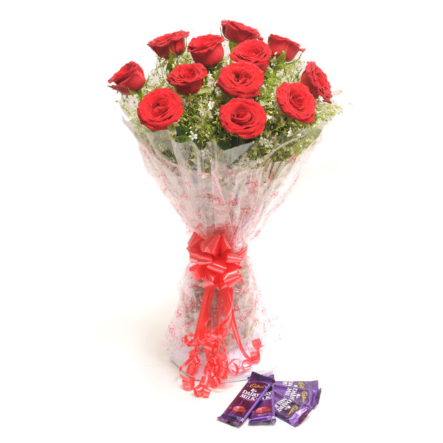 12 Red Roses, Dairy Milk Chocolates