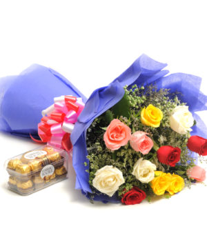 12 Mix Colour Roses, Ferrero Rocher Chocolate