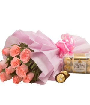 12 Pink Roses, Ferrero Rocher Chocolate